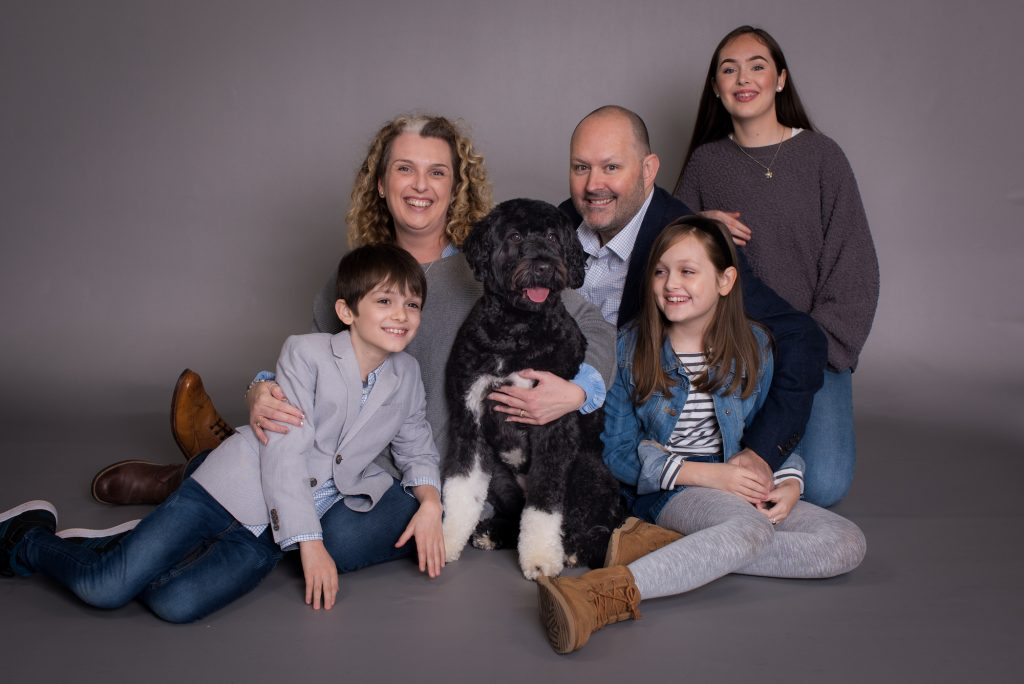 Family Photo, including a dog, mum and dad with two kids