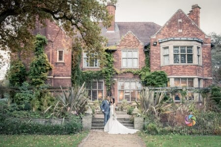 Bride and groom outside Moxhull Hall Hotel